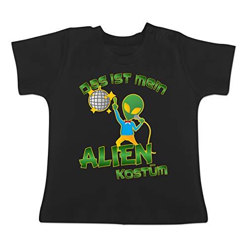 Karneval und Fasching Baby - Das ist Mein Alien Kostüm Disco - 1-3 Monate - Schwarz - BZ02 - Baby T-Shirt Kurzarm (Aliens Kostüm Mit Baby)