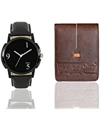 Shocknshop Analogue Black Dial Watch Combo With Wallet For Men & Boys (Black & Brown)