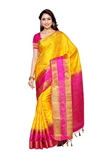 Mimosa By Kupinda Tusser Art Silk Saree Kanjivaram Style Color : Gold (4004-2092-2D-GLD-RNI)