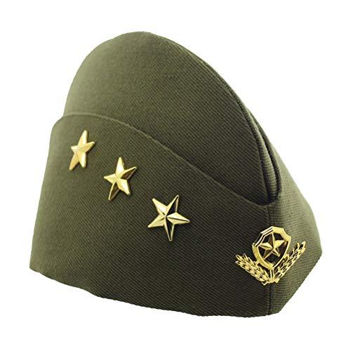Militär Kostüm Hut - BESTOYARD Schiffchen Hut Militärshut Flugbegleiterin Mütze mit Sterne Ähre Cosplay Kostüm (Grün)