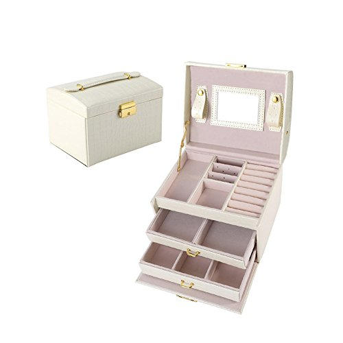 Hotel Collection Frame (Jewelry Box Earring Necklace Ring Trinket Watch Organizer with Mirror and Lock for Travel Home Storage White)