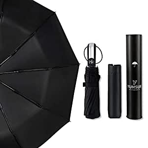 Yumsur Compact Umbrella - Travel Folding Umbrella Fast Drying, Windproof Reinforced Frame, Automatic Open & Close, Double Canopy, Lightweight 10 Ribs Umbrella for Men, Women, Children (Black)