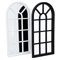 BARGAINSGALORE 70CM WINDOW STYLE MIRROR LIVING ROOM DECORATION HALLWAY HOME PANEL WALL GLASS (Black)