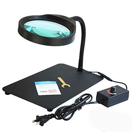 KTYX HD-beleuchtete Lupe Desktop-Desktop-Reparaturerkennung Einstellbare Helligkeit LED-Lichtlupe 10x, Schwarz Lupe