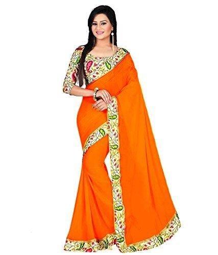 Jay Ambe Chiffon Silk Saree With Blouse Piece(Havda Orang_Orange Free Size)