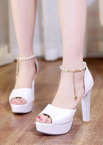 Aisun Femme Elégant Bout Ouvert Plateforme Sandales Blanc