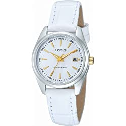 Lorus White & Gold Dial White Leather Strap Ladies Watch RJ249AX9