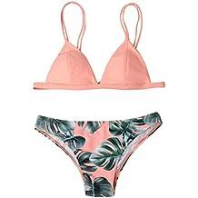 Venta caliente !Traje de baño, FeiXiang♈Nuevo bikini de traje de baño de dos piezas de las mujeres conjunto bikini bipartido imprimir push-up acolchado bañador traje de baño ropa de playa 2018 (M, Rosado)