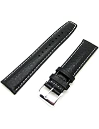 Black Buffalo Grain Genuine Leather Padded GENERIC Watch Strap Band (22mm Fitting)
