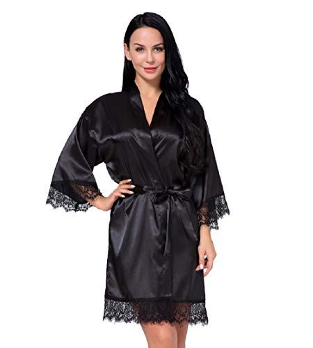 Nachtwäsche Damen Morgenmantel Kimono Robe Satin Kurze Bademantel Mit Spitze Für Frauen Schwarz L