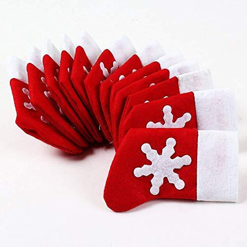 Swq - portaposate a forma di calza di natale, 12 pezzi, colore: rosso