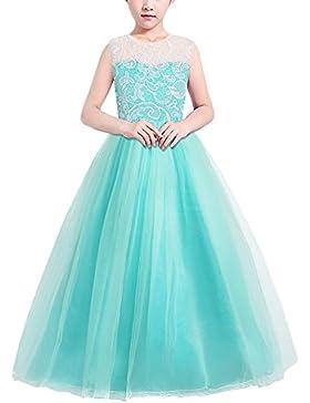 HUAANIUE Mädchen Kinder Kleid Lang Brautjungfer Festlich Hochzeit Kleider Abendkleid