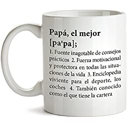 Tassenwerk Taza de Café con Mensaje – Definición Original del Mejor Papá – Ideales para Regalar en el Día del Padre – Regalos para Cumpleaños – Detalles San Valentín – Regalar Experiencias
