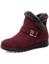 JUWOJIA La Mujer Nieve Botas De Piel Falsa Cálido Invierno Cálido Antideslizante Impermeable Zapatos,Vino,35