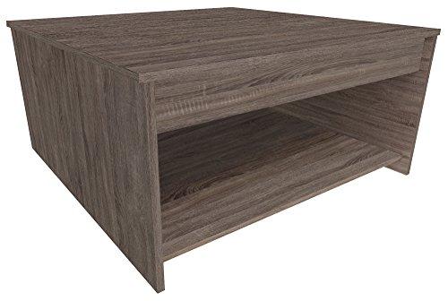 Demeyere 471479 Steen Table Basse Panneau de Particules Chêne Foncé/Basalte 80 x 80 x 40 cm