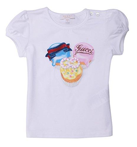 Gucci maglietta da ragazza bianco 305445–9591, bianco, 6 mesi