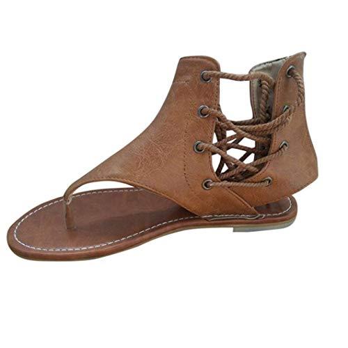 ZHRUI Damen Sandalen, Sexy Frauen Prise Flachboden römischen Sandalen Riemchensandalen Knöchel Flache Riemen Schuhe (Farbe : Gelb, Größe : 3 UK)