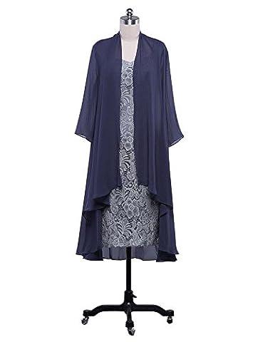 Beauty-Emily Party Dresses Tea Length Grey Chiffon Elegant Summer Two