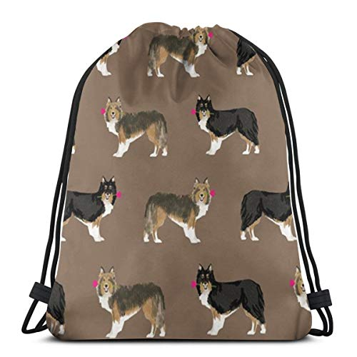 Bag hat Rose Sheltie Shetland Sheepdog 3D Print Drawstring Backpack Rucksack Shoulder Gym for Adult 16.9