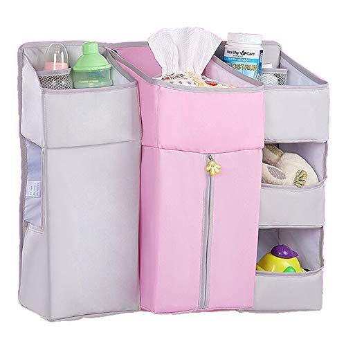 Hängender Organizer Kinderzimmer, Sunzit Babybett Tasche Hängende Aufbewahrungstasche mit 7 Taschen Windel Spielzeug Kleidung Betttasche Kinderwagen Buggy Dekor - Rosa -