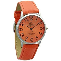 Unisex Silver Plated Mondex / Azaza / MABZ PU Leather Strap Watch (Orange Strap With Orange Dial)
