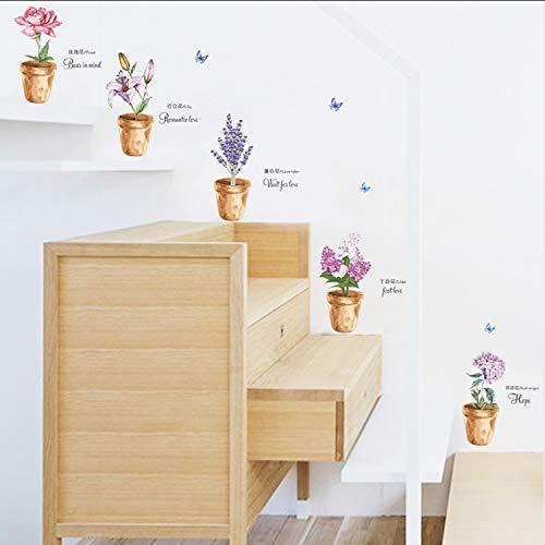 ikjuh Garten Lila Rosen Lilie Lavendel Wandaufkleber Blume Blumen Pflanze Schmetterling Dekorationen Hause Wohnzimmer Schlafzimmer Dekor Wandkunst 81 * 61 cm (Lila König Blatt Flaches)