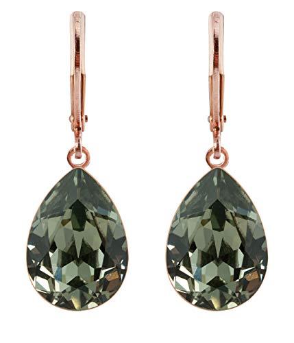hrringe Ohrhänger Tropfen Anhänger 1 Swarovski®-Kristall Schwarz Black Diamond Rose Gold Vergoldet rdh1-rg-black-diamond ()