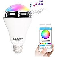 Ampoule LED Bluetooth sans Fil Smart,Ecandy Ampoule LED Bluetooth Smart légère-IOS Android APP couleur changeable multicolor pour le réveil ou une Party ampoule Lights E27