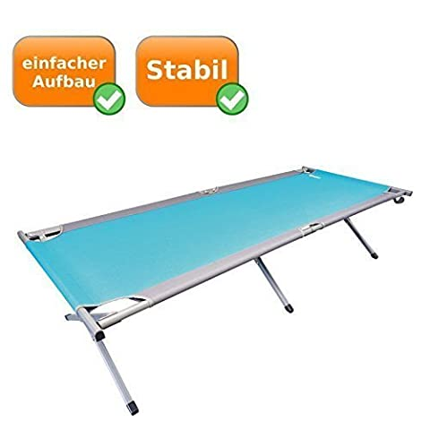 Stable XXL Camp bed with adjustable Firmness with extra large Sunbathing area 205 x 78 cm, ideal for the Camping holidays, Outdoor activities oder die Festival season, Load capacity of up to 120Kg