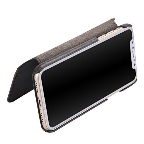Cover iPhone X, Bestsky iPhone X Portafoglio Cuoio di Vera Pelle Retro Raccoglitore Flip Libro Antigraffio Caso Protezione case Custodia per iPhone X, Rosso Vino Nero