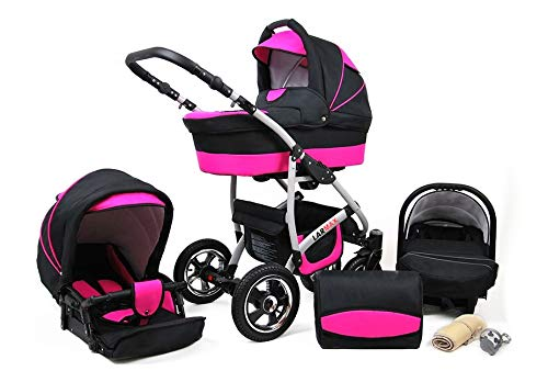 Lux4Kids 3 in 1 Combi pram Pushchair Stroller Complete Set with car seat Isofix Larmax Black & Pink 4in1 car seat +Isofix Lux4Kids Lux4Kids 4in1 or 3in1 or 2in1 pushchair. You have the choice whether you need a car seat (baby seat certified according to ECE R 44/04 or not). Of course, the Pram is stabil, safe and durable Certificate EN 1888:2004 Of course, the baby Basket has a rocking function when it is removed from the pram. The push handle adapts to your size and fits for everyone 1