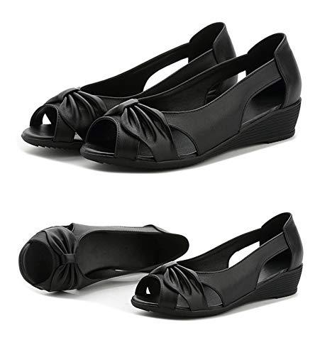 Woman Genuine Leather Platform-Sandalen Open Toe Mother Wedges Casual Sandalen, schwarz - Größe: 37 EU -