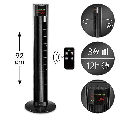 TROTEC Turmventilator TVE 31 T mit 3 Geschwindigkeitsstufen, 45 Watt, 92 cm groß, 60°-Oszillation mit Abschaltfunktion, Timerfunktion, LED-Display und Tasten-Bedienfeld, Geräuscharm, Fernbedienung -