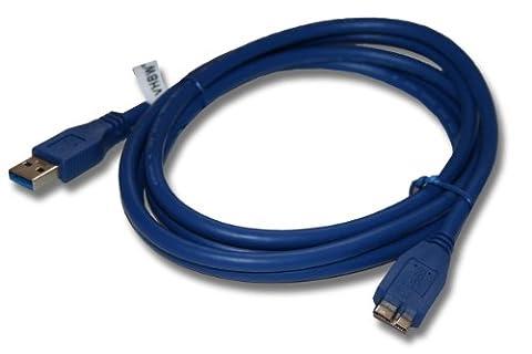 vhbw 1.8m Micro-USB 3.0 Daten Lade Adapter Kabel blu für Samsung Galaxy Note 3 SM-N9008, SM-N9009, Note Pro 12.2 SM-P900, SM-P905 wie