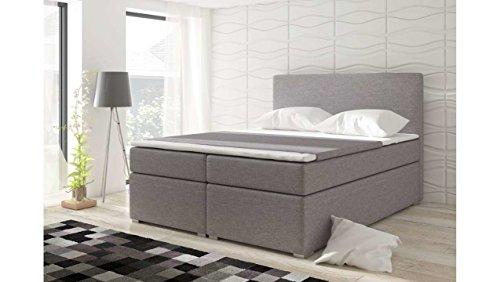 JUSTyou Mefis Boxspringbett Continentalbett Doppelbett Strukturstoff (HxBxT): 126x180x200 cm Grau I