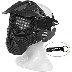 HaoYK Masque complet de protection pour les jeux tactiques, airsoft, paintball, protection militaire et pour costume d'Halloween, Noir