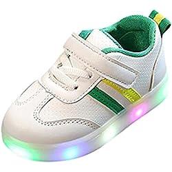Zapatillas Unisex Niños K-Youth Zapatos LED Niños Niñas Zapatillas Niño Zapatillas de Rayas para Bebés Zapatillas de Deporte Antideslizante Zapatillas con Luces para Niñas Niños (24 EU, Verde)