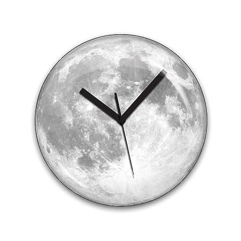 Kikkerland 36 cm Glass Glow In The Dark Moonlight Clock, Multi-Colour