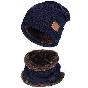 Vbiger Cappello Uomo invernale Berretto Uomo in Maglia con sciarpa