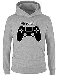 Comedy Shirts - Player 1 Controller - Jungen Hoodie - Kapuze, Kängurutasche, Langarm, Print-Pulli