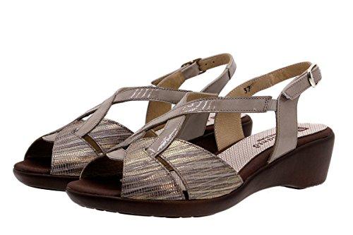 Scarpe donna comfort pelle PieSanto 1552 Sandali Zeppa larghezza speciale Gris