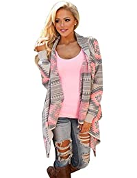 Sannysis® Cardigan Jersey de Punto Mujer Estampado Talla 34 36 38 40 (XL)