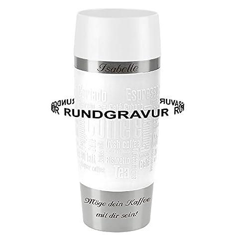 Emsa Thermobecher TRAVEL MUG Weiß 0,36 L mit persönlicher Rund-Gravur gelasert Edelstahl Soft-Touch-Manschette mit Quick Express