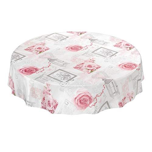 ANRO Wachstuchtischdecke Wachstuch Wachstischdecke Tischdecke abwaschbar Rosen Landhaus Antik Grau Rund 120cm, Schnittkante,