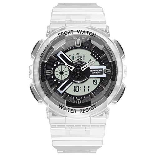 Sanda Multifunktionalen Modetrend Junge Digitale Paar Uhr, Digitalanzeige, Mechanische Uhrwerk, 50m Grenze Wasserdicht, Transparentes Pu Armband, Outdoor Sportuhr (Weiblich),Schwarz1