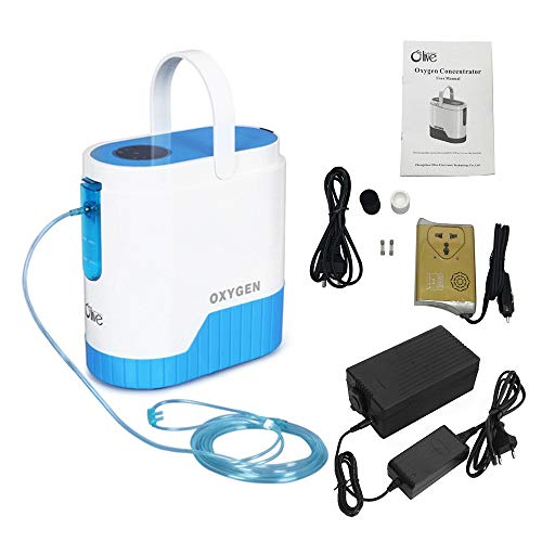 HUKOER Oxygen Concentrator 1-5L/min 90%±3 (1L) Pure Oxygen Flow Adjustable  Portable Oxygen Machine for Home and Travel Use With 10000mAh Lithium
