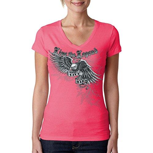 Biker Girlie V-Neck Shirt - Live the Legend - Live Hard by Im-Shirt Light-Pink