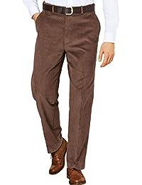 Hombres Pana De Algodón Pantalones con Pretina Extra Ocultos Marrón Cintura 101cm x Longitud De Las