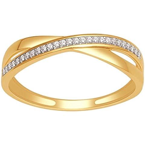Anelli da donna, MidwestJewellery.com Criss Cross-Fede nuziale in oro giallo 10 K, con diamante, in oro bianco o 0,07Ctw Anello