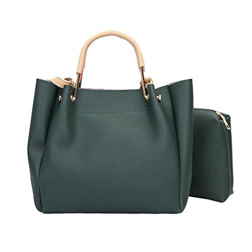 Frauen Zwei Set Handtasche Sansee Damen Schultertaschen Zwei Stücke Einkaufstasche Umhängetasche Grün